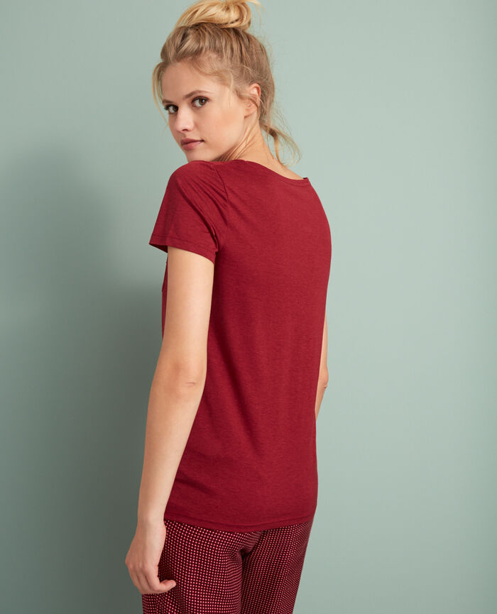 Short-sleeved top with v-neck Leather red Latte