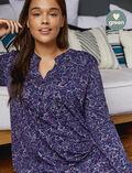 Chemise de nuit manches longues Floral bleu Dimanche