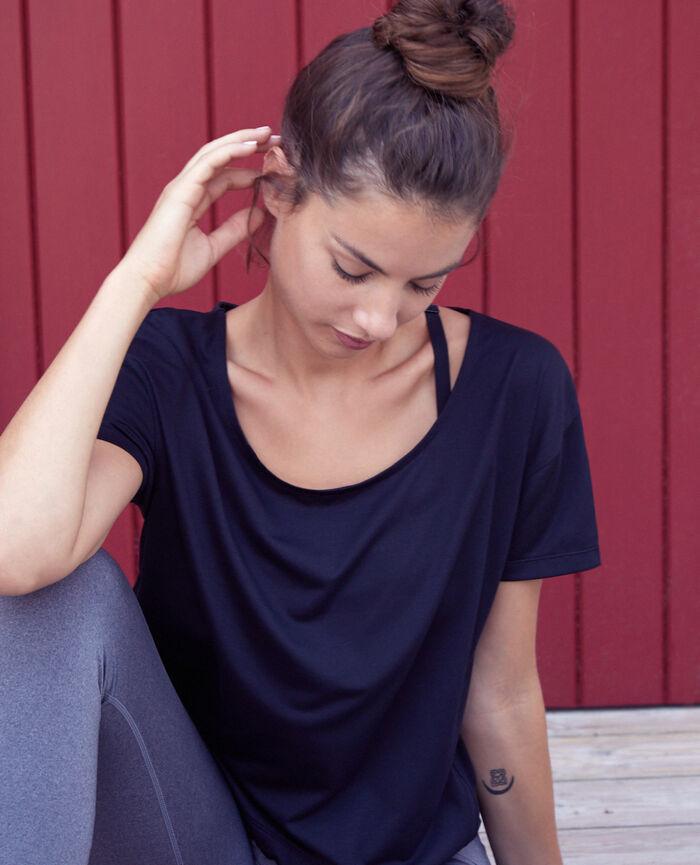 T-shirt de sport manches courtes Noir Yoga