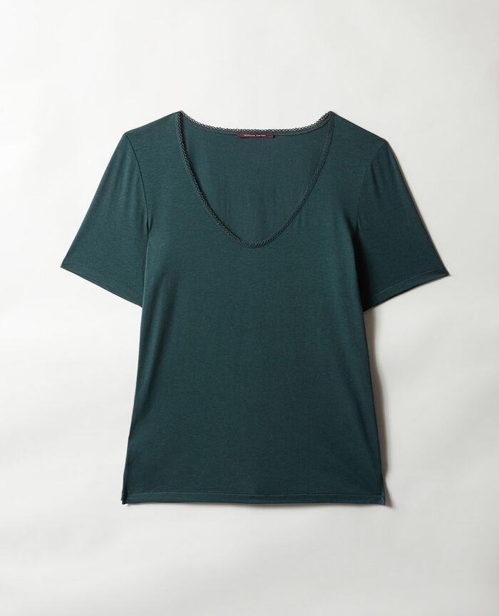 Short-sleeved top with v-neck Night green Bonne nuit