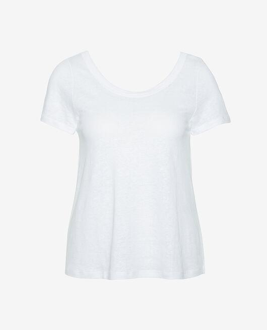 T-shirt manches courtes Blanc Casual lin
