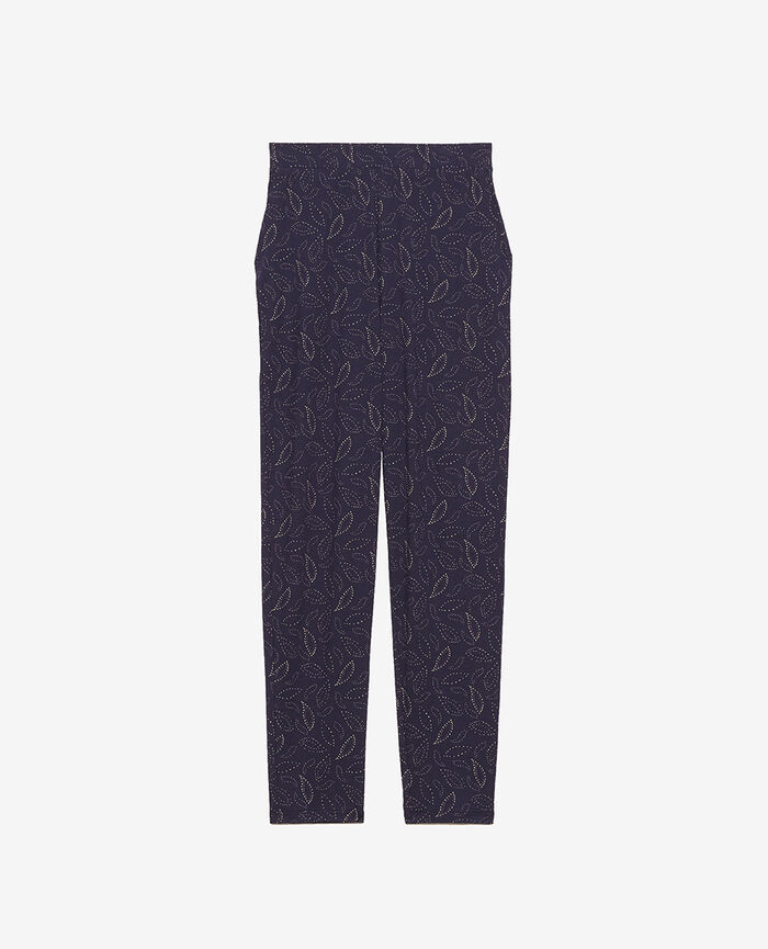 Carrot pants Navy cashmere Paresse print