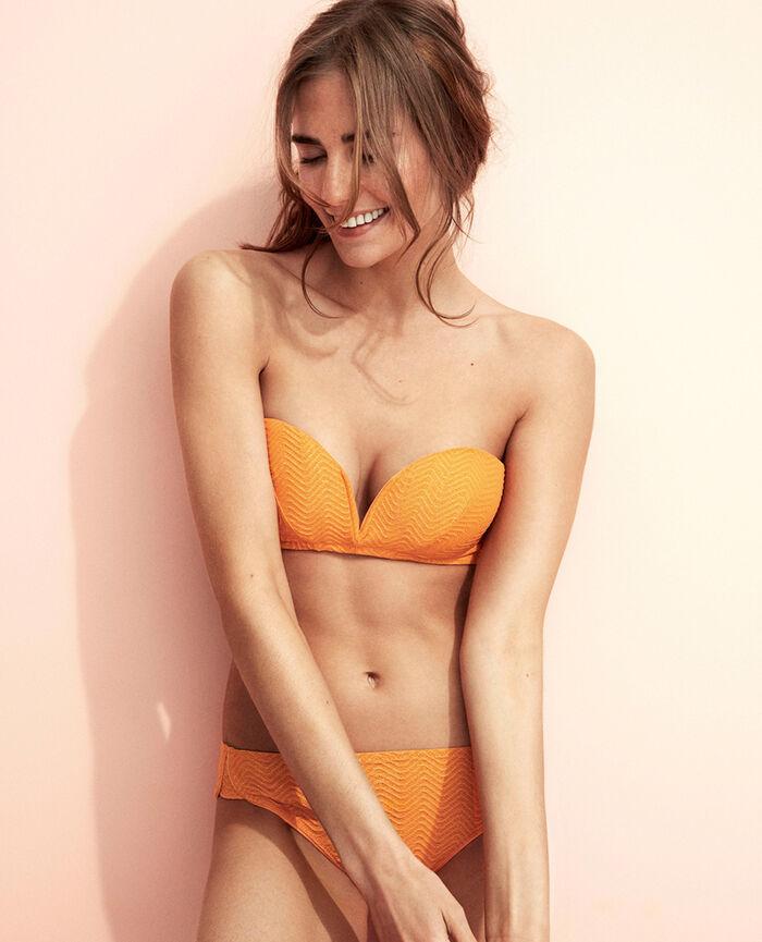 Padded strapless bikini top Maya orange Wahou