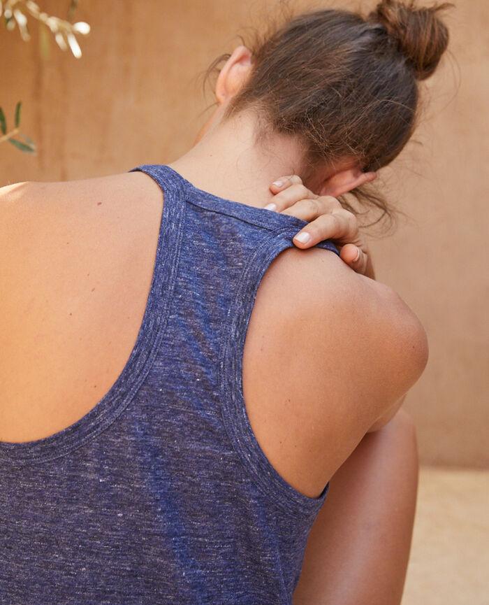 T-shirt sans manches Indigo Casual lin