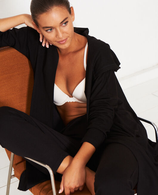 Long-sleeved cardigan Black Heattech lounge