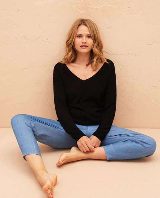 V-neck jumper Black Majorelle