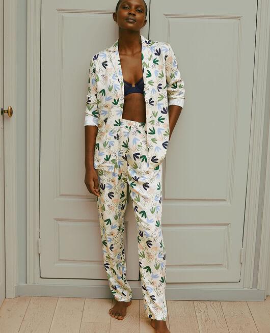 Pantalon Matisse blanc rosé Attitude imprime