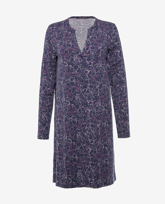 Long-sleeved nightdress Floral blue Dimanche