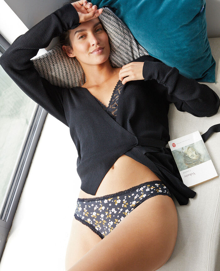 Culotte taille basse Floral noir Take away