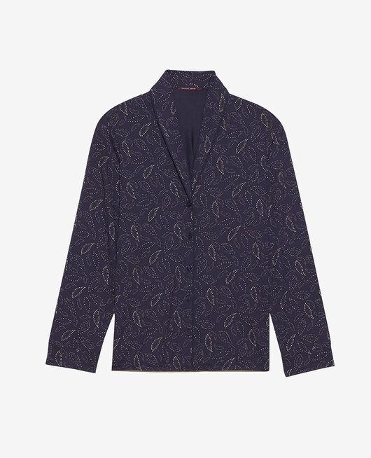 Veste de pyjama Cashmere bleu marine Paresse print