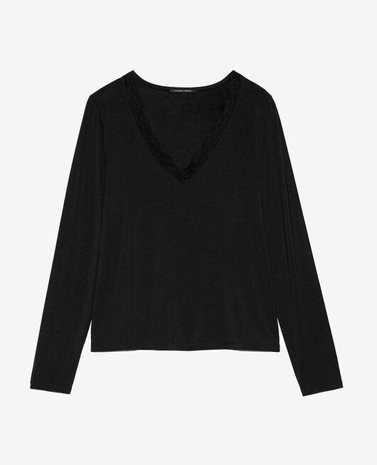 T-shirt manches longues Noir Douceur