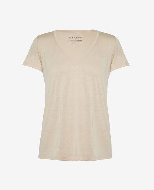 Short-sleeved top with v-neck Beige sand Latte