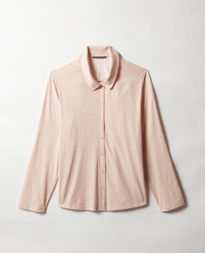 Pyjama jacket Powder beige wicker Bonne nuit print