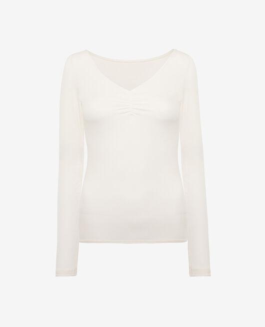 Long sleeved top Rose white Heattech© lovely
