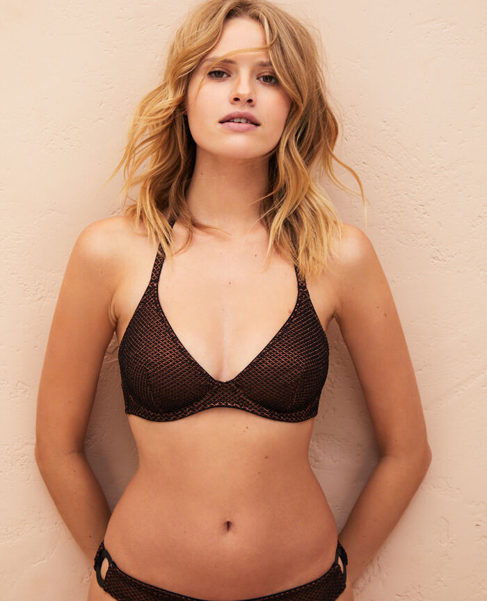 Mini-wire triangle bikini top Black Jawahra