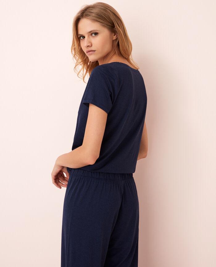 T-shirt court manches courtes col v Bleu marine Latte