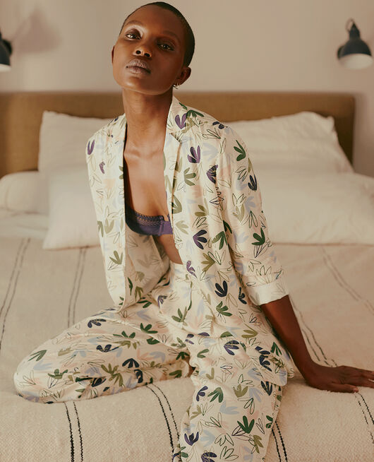 Veste de pyjama Matisse blanc rosé Attitude imprime