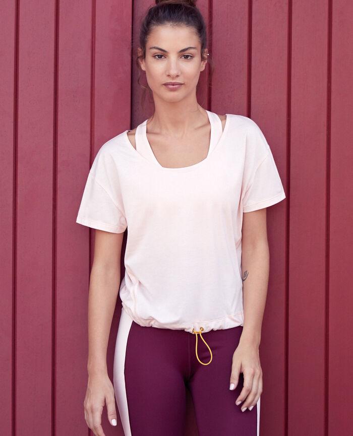 T-shirt de sport manches courtes Rose nuage Yoga