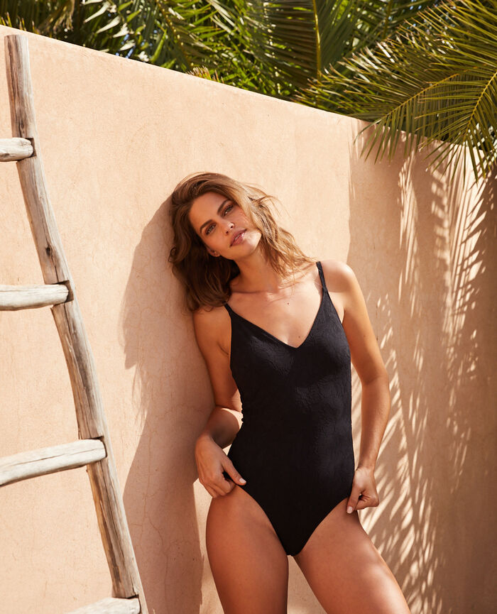 Swimsuit Black Pompon