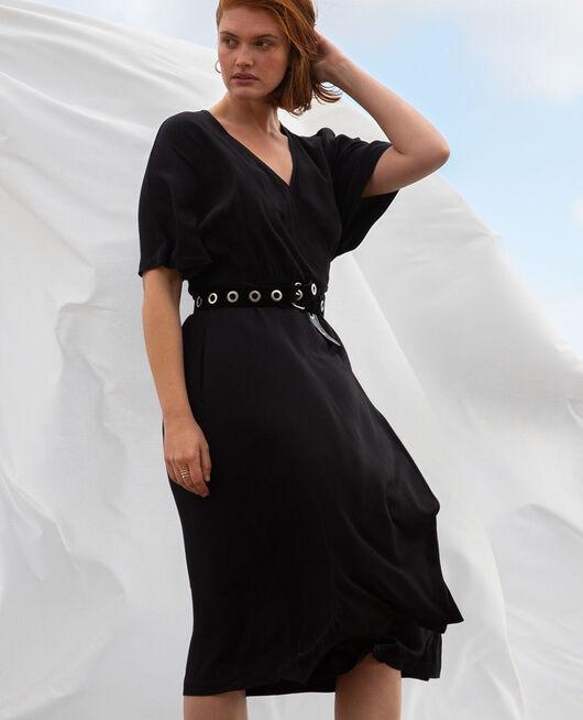 Robe longue Noir Crepe viscose