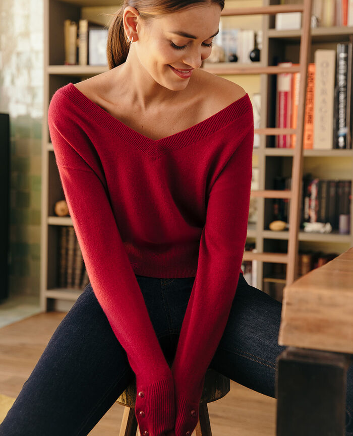 Pull col v Rouge camelia Icone