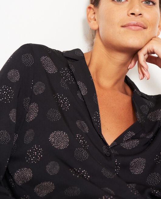 Pyjama jacket Black relief Attitude imprime