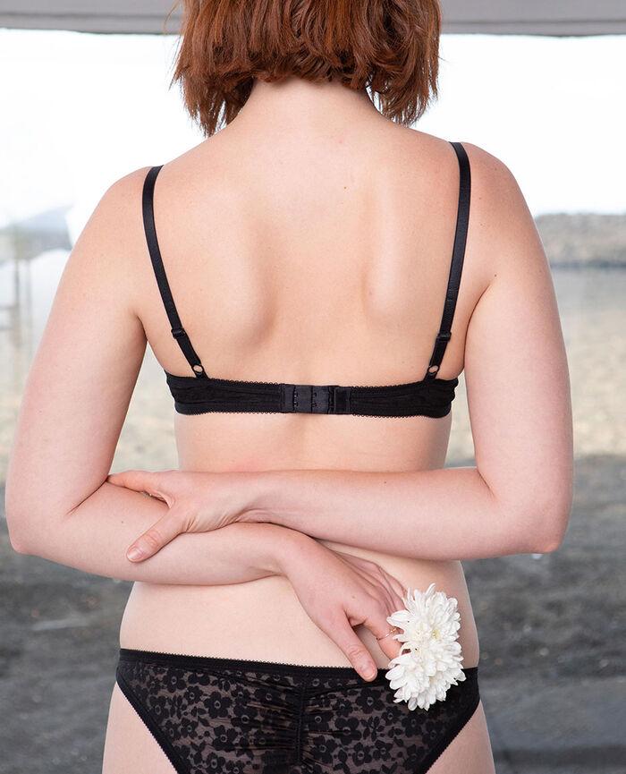 Soutien-gorge corbeille spacer Noir Fleurs