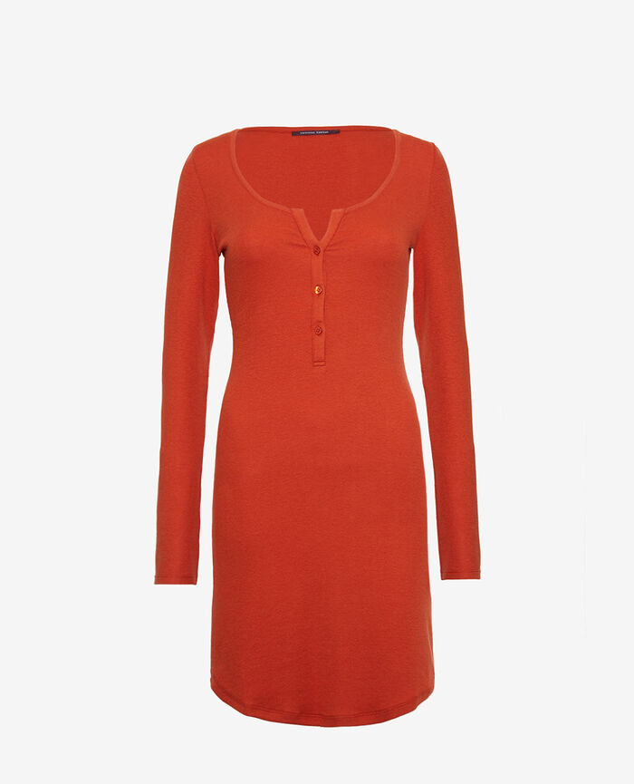 Long-sleeved nightdress Cognac brown Dimanche