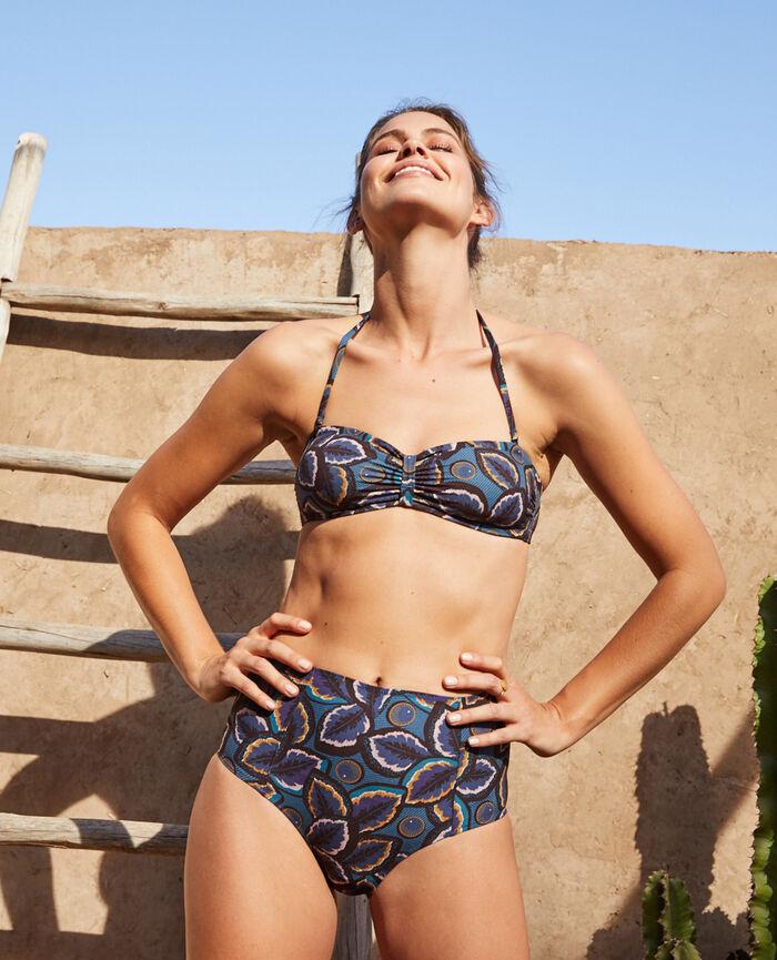 High-waisted swim briefs Blue wax Wax
