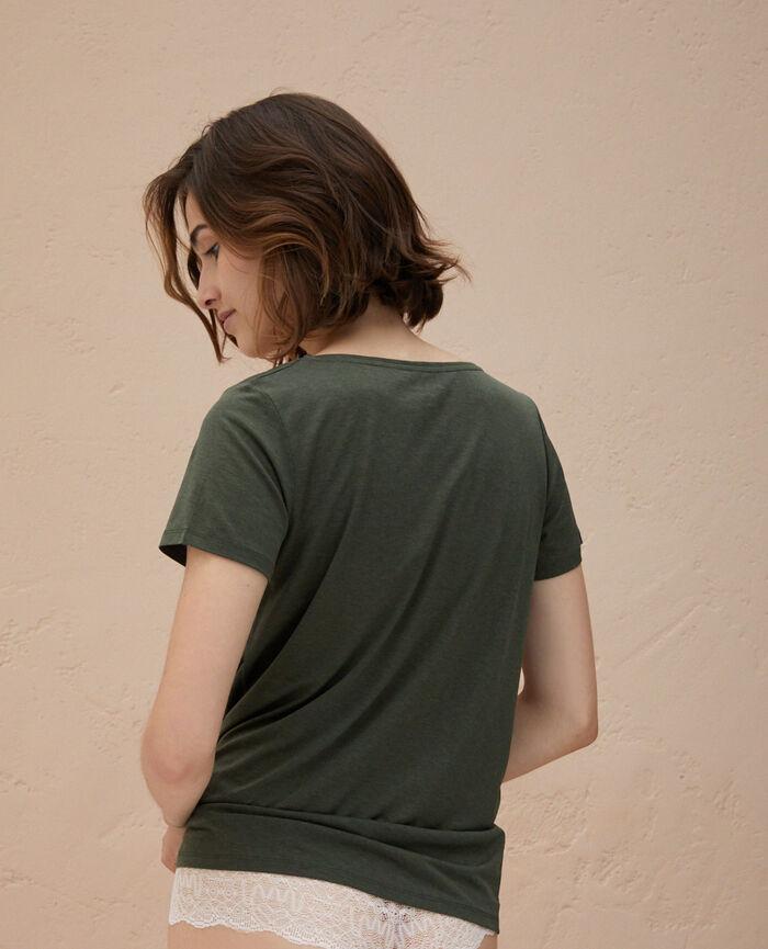 T-shirt court manches courtes col v Vert mousse Latte organic