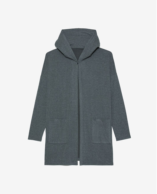 Cardigan manches longues Gris chiné Heattech lounge