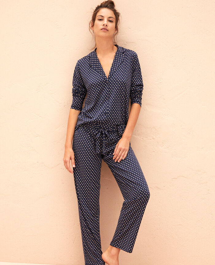 Pantalon de pyjama Piaf bleu Latte