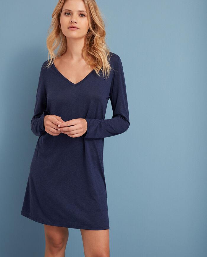 Long-sleeved nightdress Navy Latte