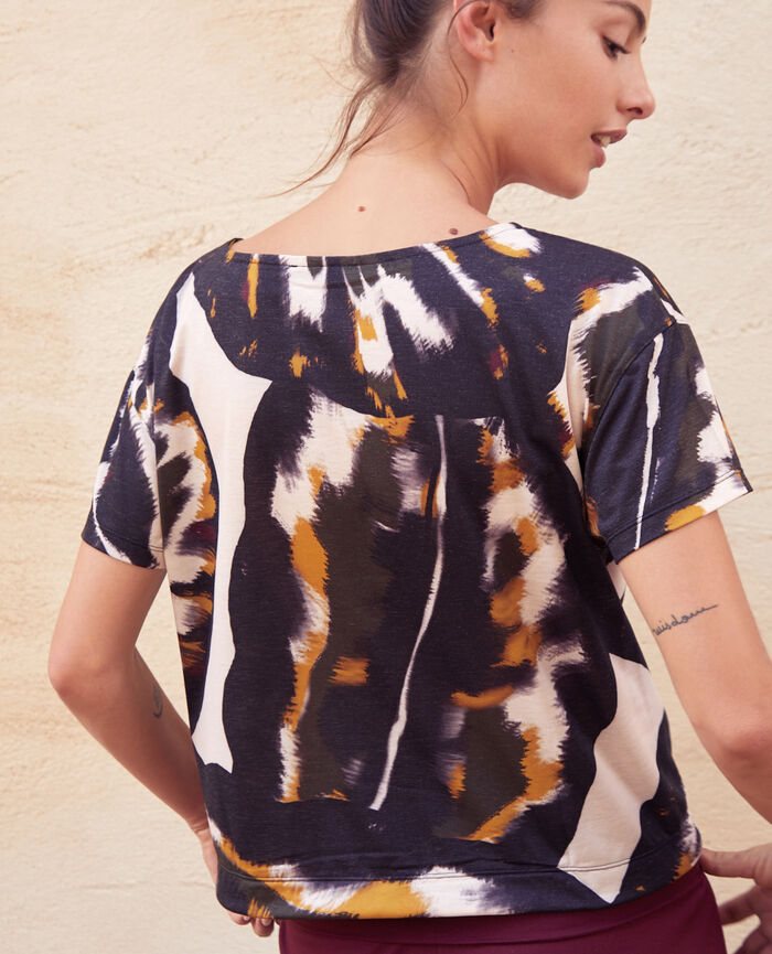 T-shirt de sport manches courtes Palme multicolore Yoga