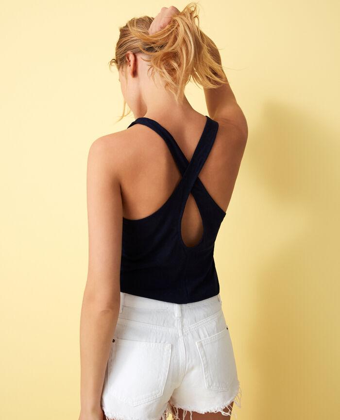 T-shirt sans manches Bleu marine Elisa