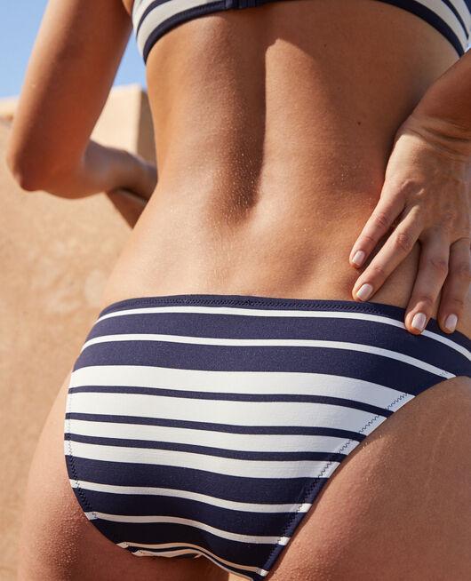 High-cut bikini briefs Navy blue stripe Moussaillon
