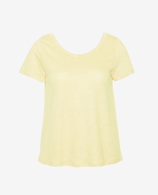 T-shirt manches courtes Jaune swan Casual lin
