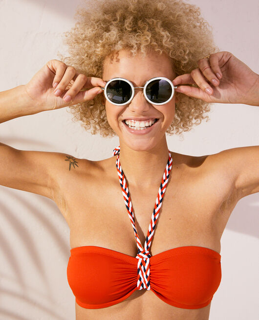 Padded strapless bikini top Tangerine red Natte