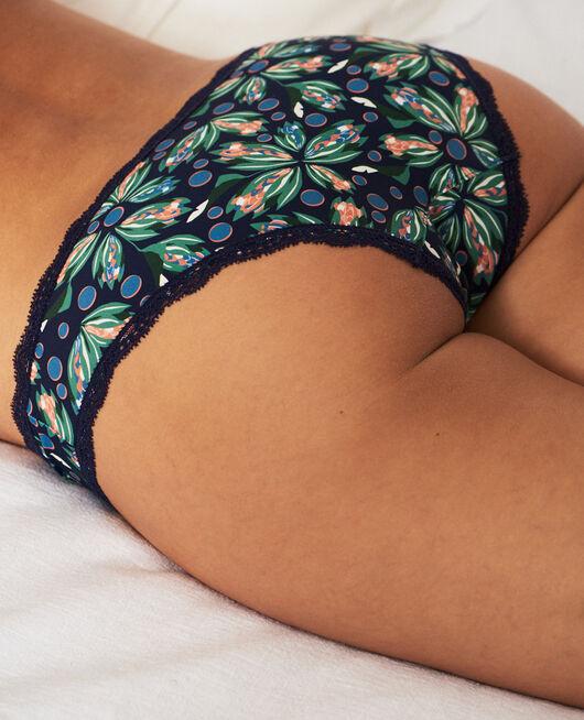 Culotte taille basse Fleur bleu marine Take away