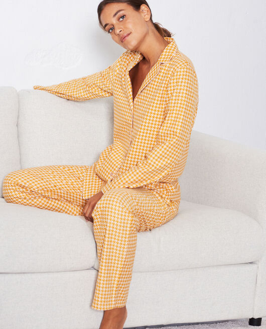 Set pyjama Pied de poule jaune moutarde Dodo