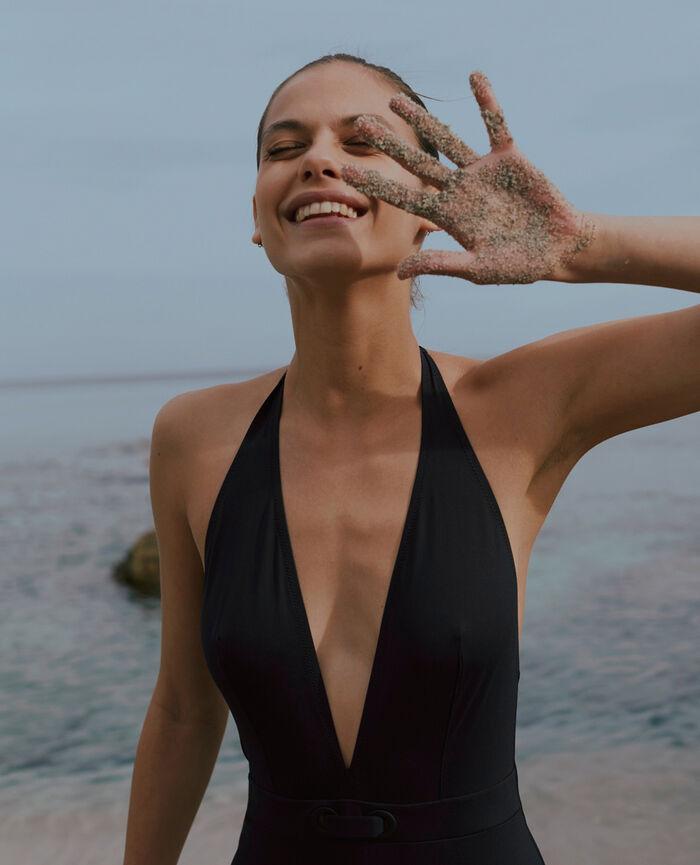 Maillot de bain une pièce tour de cou Noir Impala