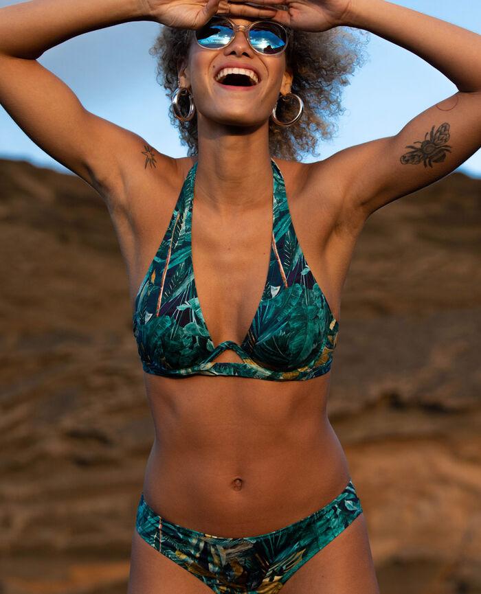 Hipster bikini briefs Blue palm Palme
