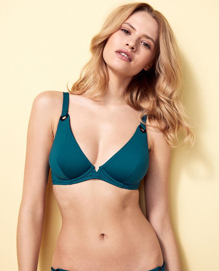 Underwired triangle bikini top Midnight green Impala