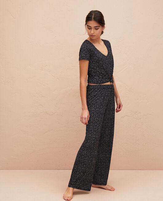 Pyjama trousers Black chouia Latte