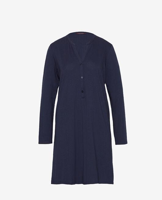Chemise de nuit manches longues Bleu marine Dimanche