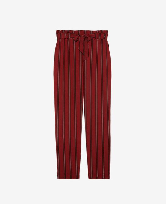 Pantalon carotte Rayure rouge rubis Pimpant