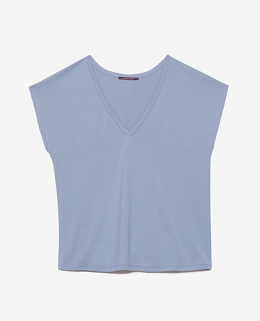 T-shirt court manches courtes col v Bleu hortensia Top collection