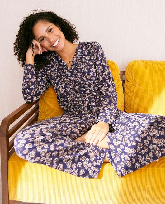 Pyjama jacket Navy blue fiesta Dimanche print