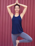 Débardeur de sport dos ouvert Bleu marine Yoga