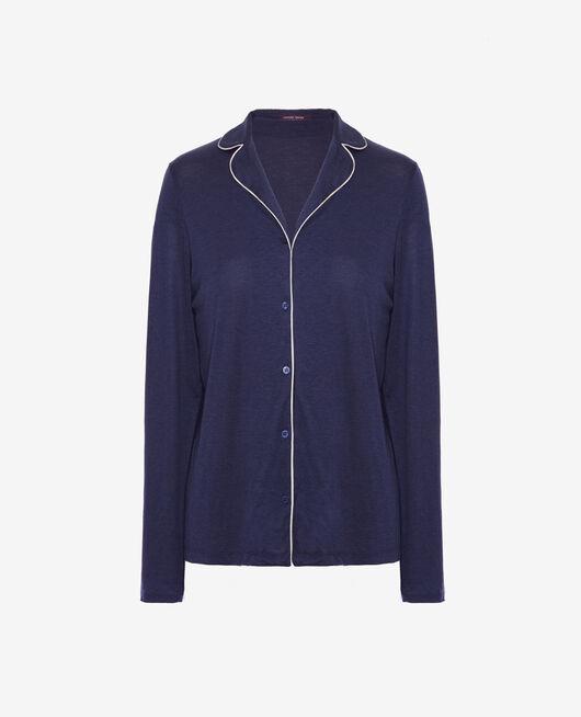 Pyjama jacket Navy blue Latte